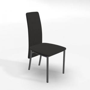 Chaise contemporaine tissu noir et pieds métal - Elyn