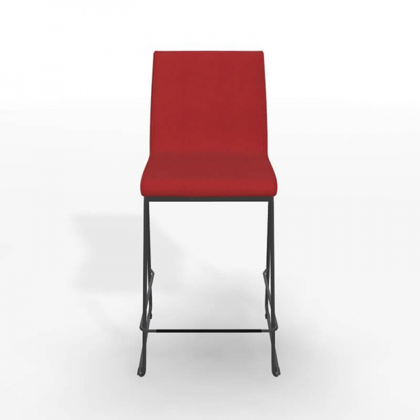 Tabouret mi-hauteur rouge en tissu et métal - Como - 3