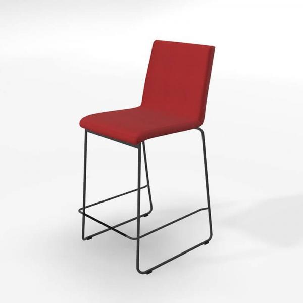 Tabouret hauteur snack rouge style moderne avec pieds luge - Como - 5