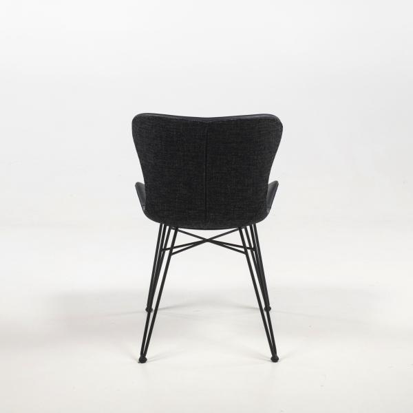 Chaise design bi-matière tissu et synthétique pieds épingle - Kara - 4