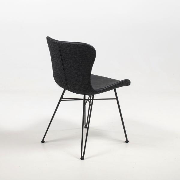 Chaise tendance noire bi-matière pieds épingle - Kara - 5