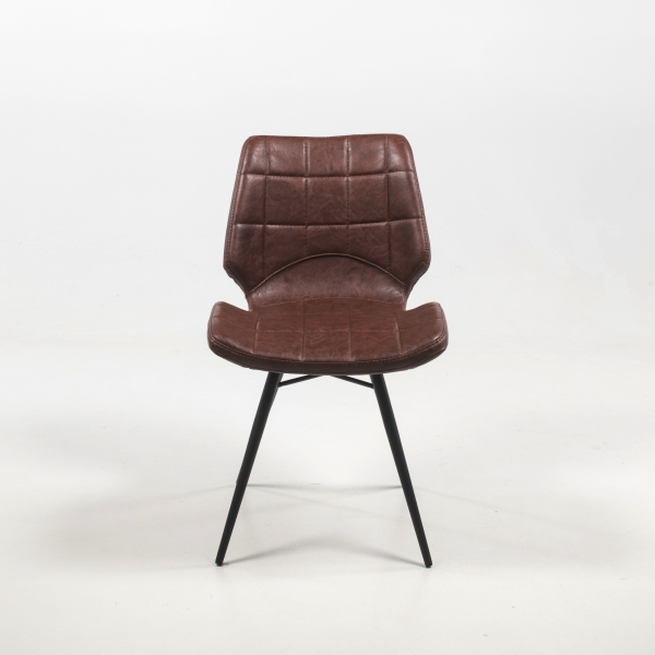 Chaise design vintage inspiration vintage avec pieds en métal noir - Iberis - 12