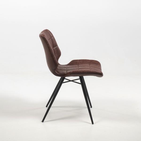 Chaise vintage marron inspiration vintage avec pieds en métal noir - Iberis - 13