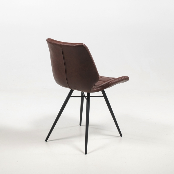 Chaise tendance marron vintage inspiration vintage avec pieds en métal noir - Iberis - 14