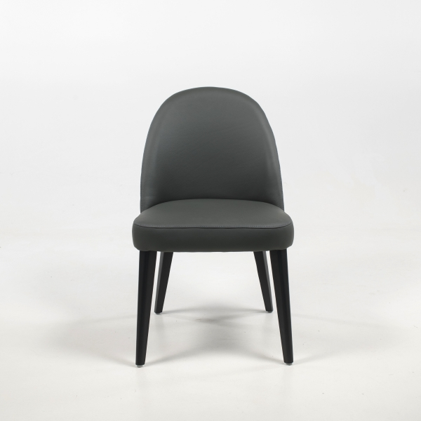 Chaise de salon confortable en cuir gris véritable - Népal - 2