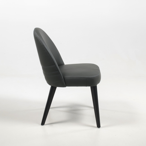 Chaise de salon confortable en cuir gris véritable - Népal - 3