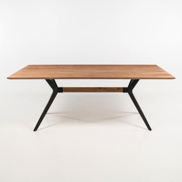 Table industrielle avec traverse en bois et métal - Perle - 2