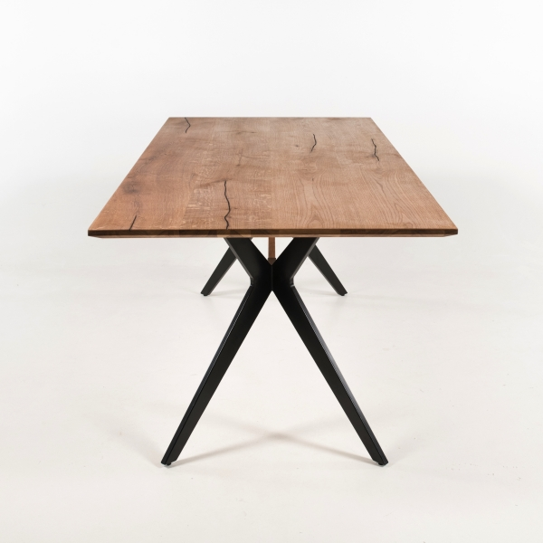 Table moderne industrielle avec traverse - Perle - 3