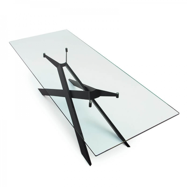 Table de salle à manger design en verre et métal - Cross Sovet® 8 - 8