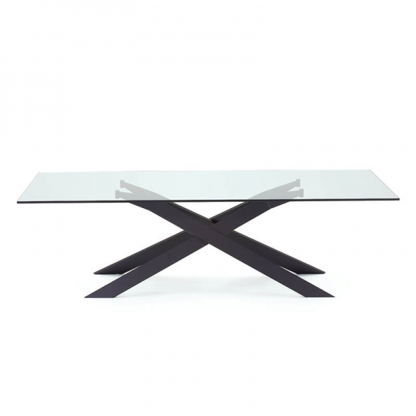 Table de salle à manger design en verre et métal - Cross Sovet® 7 - 7