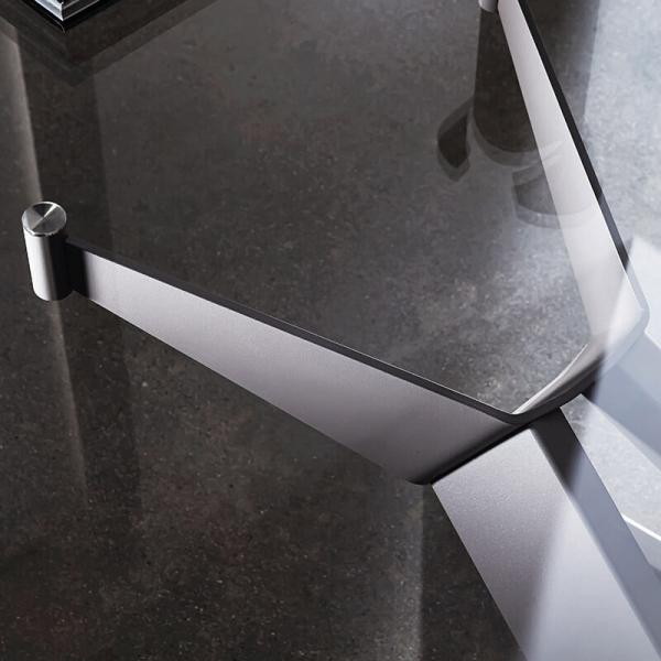 Table de salle à manger design en verre et métal - Cross Sovet® 10 - 10