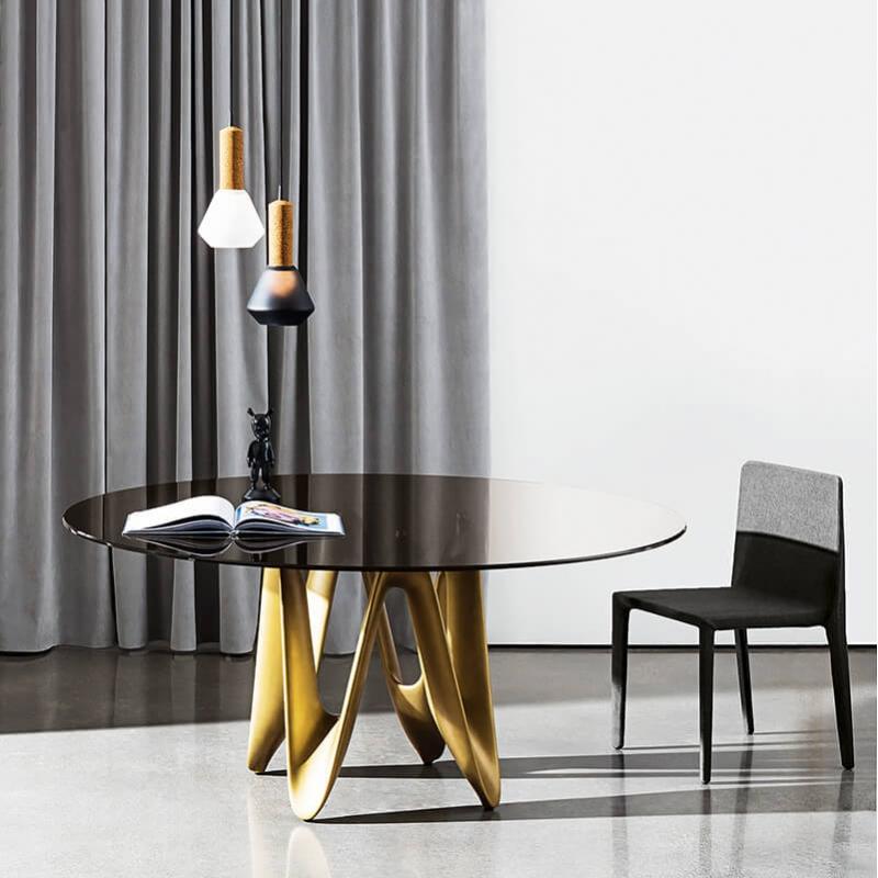 Table Ronde En Verre Design 4 Chaises: Table Ronde Design En Verre - Lambda Sovet®