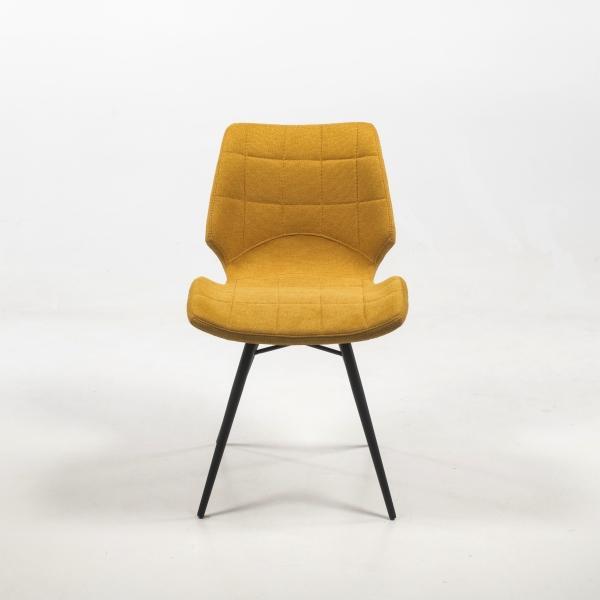 Chaise design vintage jaune rembourrée en tissu - Iberis - 2