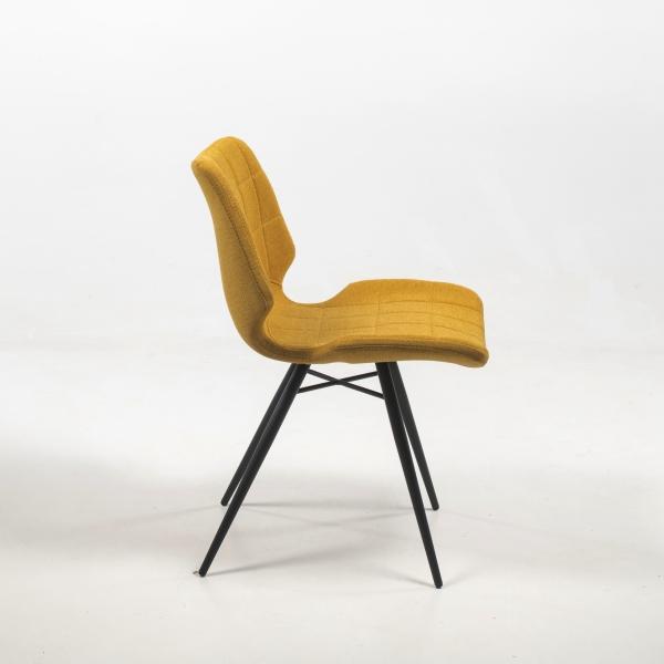 Chaise vintage jaune en tissu - Iberis - 3