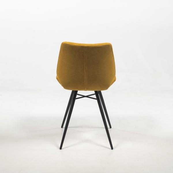 Chaise rétro jaune en tissu matelassée - Iberis - 4