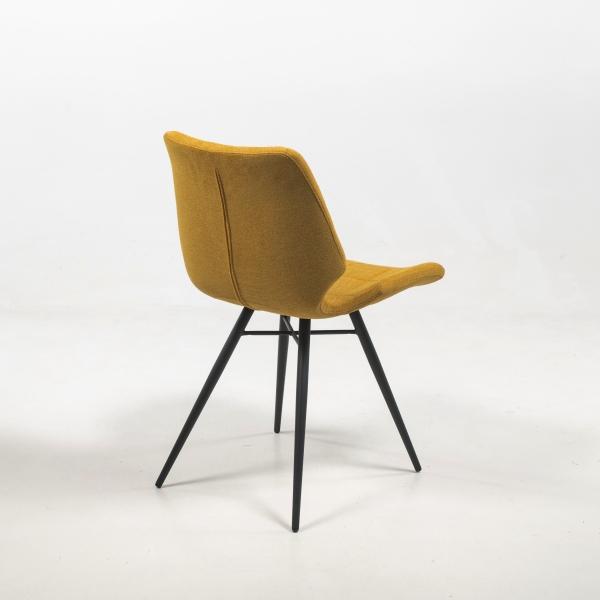 Chaise jaune en tissu style vintage  - Iberis - 5