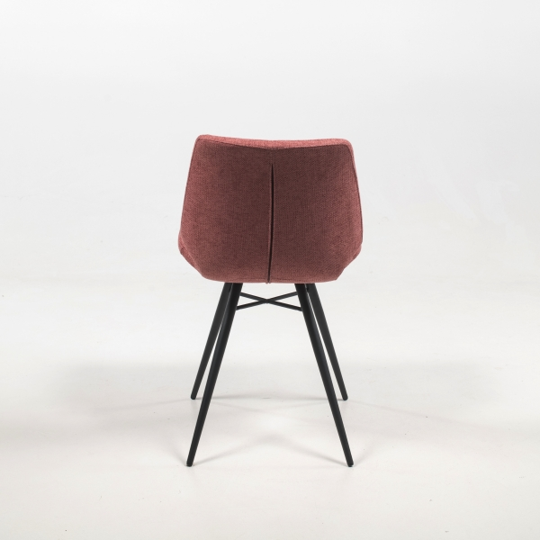 Chaise rembourrée en tissu rose style rétro - Iberis - 9