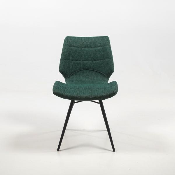Chaise design vintage vert rembourrée en tissu - Iberis - 12