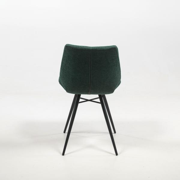 Chaise confortable en tissu vert au design vintage - Iberis - 14