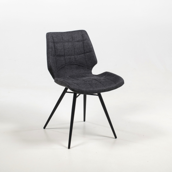 Chaise grise en tissu style vintage - Iberis - 16