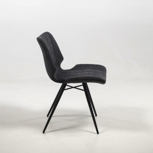 Chaise en tissu gris design rétro - Iberis - 18