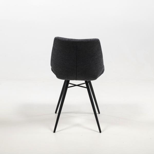 Chaise vintage en tissu gris rembourrée - Iberis - 19