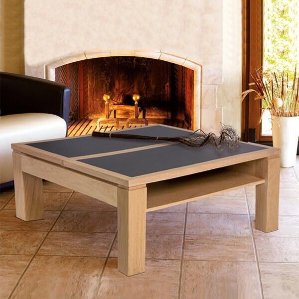 Table basse carrée modulable en céramique et bois - Dinette