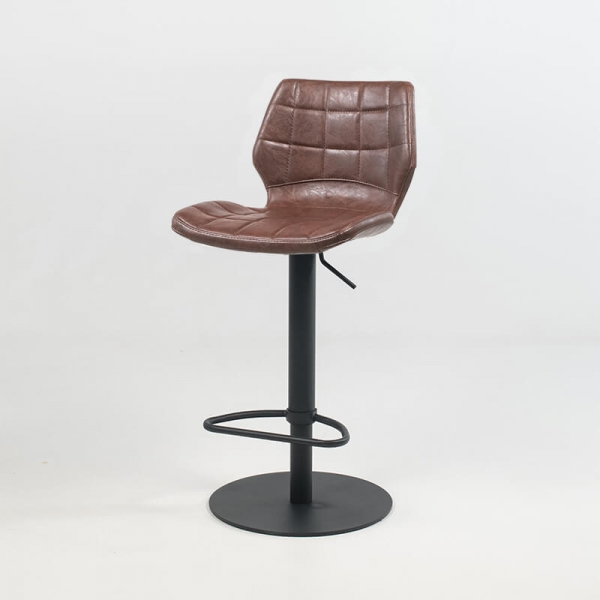 Tabouret réglable coque marron vintage et patinée avec pied en métal noir - Indica - 11