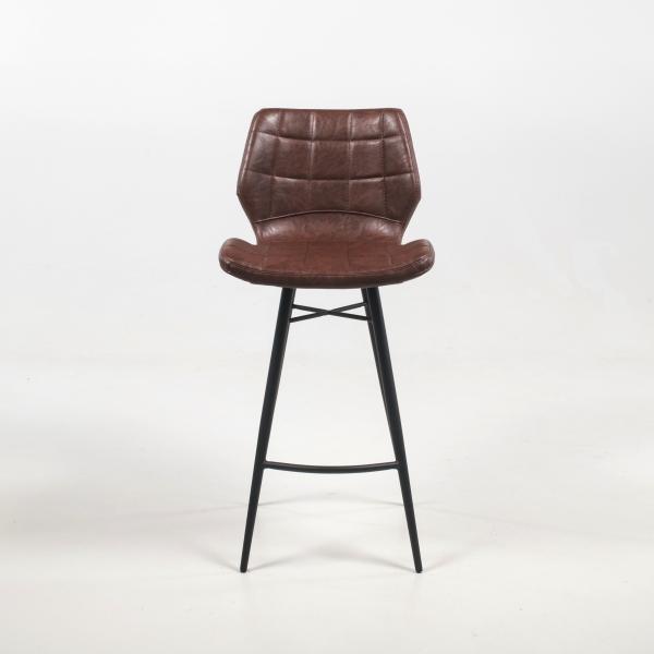 Tabouret design marron vintage et pieds en métal noir - Impia - 11