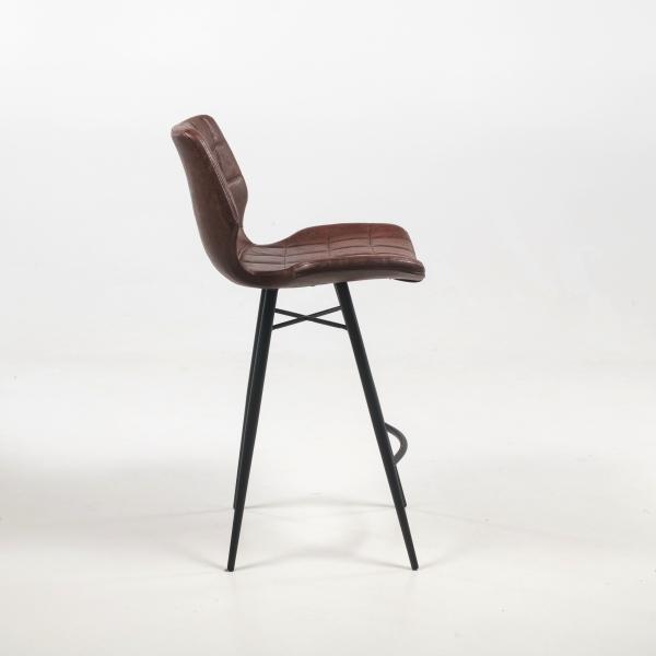 Tabouret design coque marron vintage et pieds en métal noir - Impia - 12