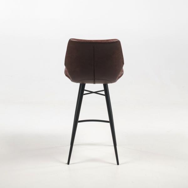 Tabouret design marron vintage et pieds en métal noir - Impia - 13