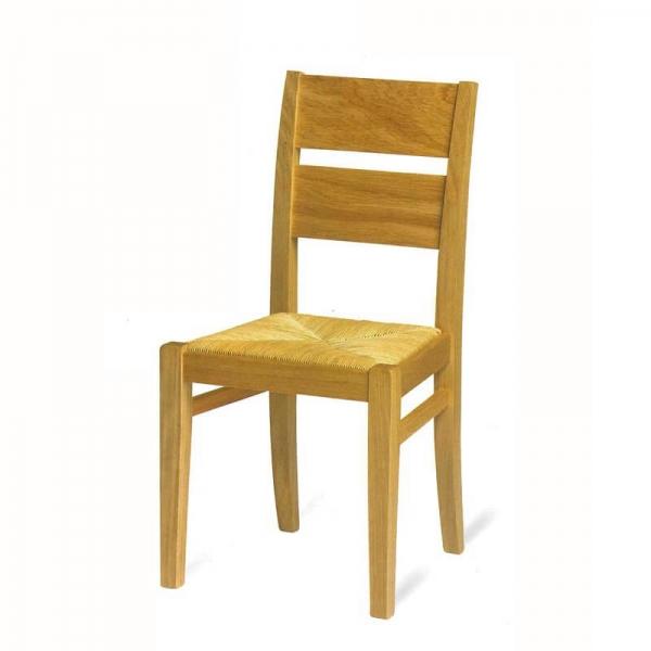 Chaise française rustique en chêne massif et paille  - Soja 1300 - 2
