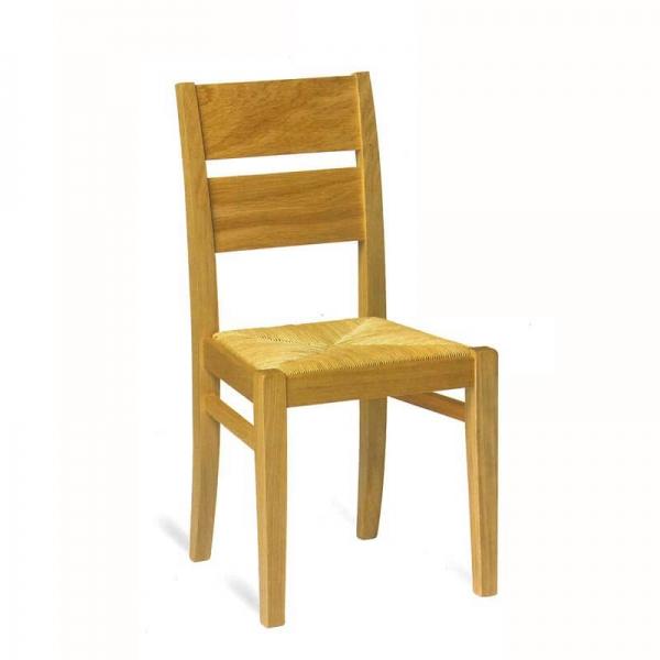 Chaise française rustique en chêne massif et paille  - Soja 1300 - 1