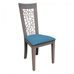 Chaise française en bois dossier ajouré et assise en tissu bleu - Crocus