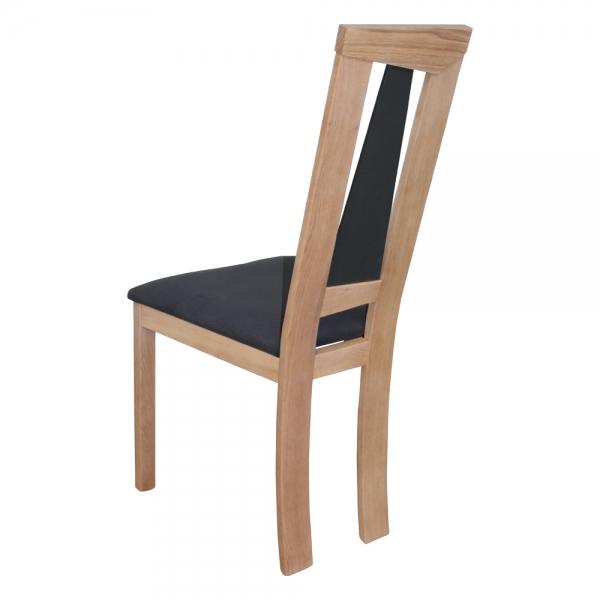 Chaise fabrication française dossier haut en chêne massif et assise tissu - Tower 1800G - 10