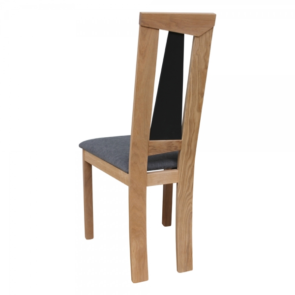 Chaise française dossier haut en chêne massif et assise tissu - Tower 1800G - 4