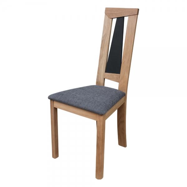 Chaise made in France dossier haut en chêne massif et assise tissu - Tower 1800G - 2
