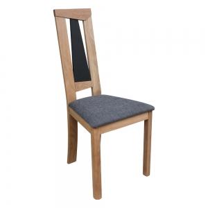 Chaise française dossier haut en chêne massif et assise tissu - Tower 1800G