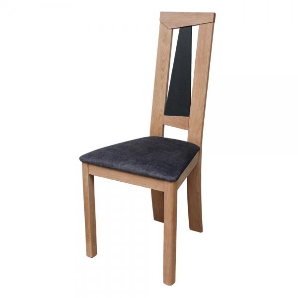 Chaise française dossier haut en chêne massif et assise tissu - Tower 1800G - 6
