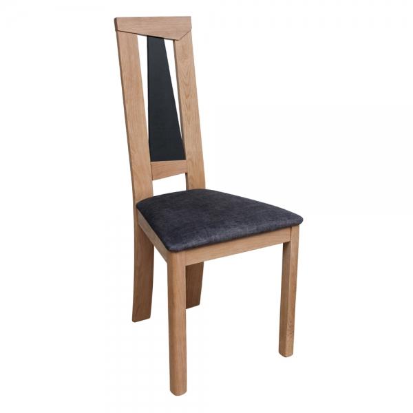 Chaise fabriquée en France dossier haut en chêne massif et assise tissu - Tower 1800G - 5