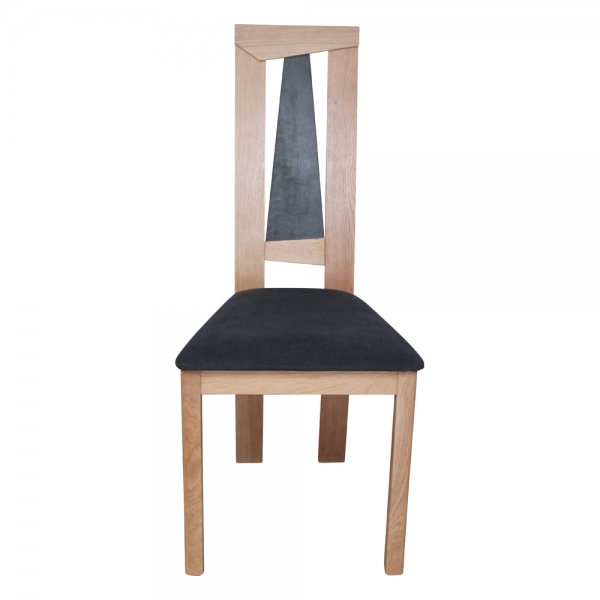 Chaise fabrication française dossier haut en chêne massif et assise tissu - Tower 1800G - 8