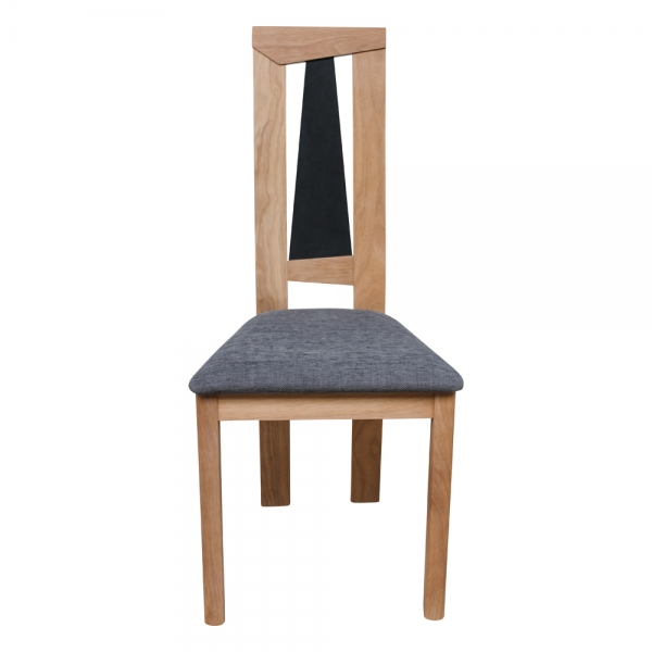 Chaise fabrication française dossier haut en chêne massif et assise tissu - Tower 1800G - 3