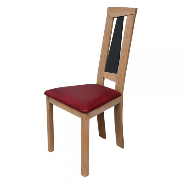 Chaise rembourrée rouge et bois fabrication française - Tower 1800L - 5
