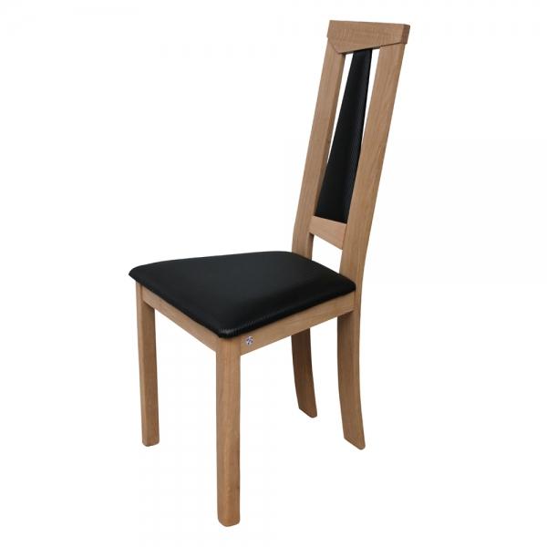 Chaise en chêne massif et assise en synthétique noir rembourrée - Tower L - 9