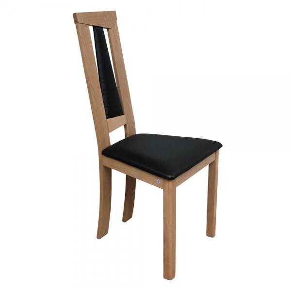 Chaise de salle à manger contemporaine assise noire et structure en chêne massif - Tower 1800L - 8