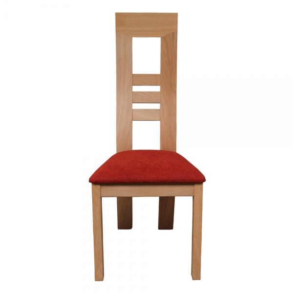 Chaise made in France en bois massif et assise tissu rouge orangé - Muscade 1060 - 3