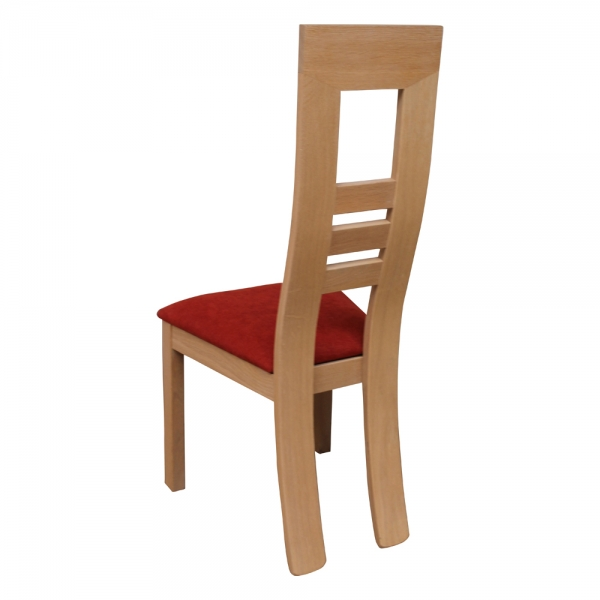 Chaise française en bois massif et assise tissu rouge orangé - Muscade 1060 - 4