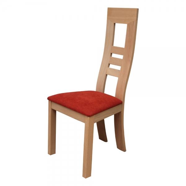 Chaise fabrication française en bois massif et assise tissu rouge orangé- Muscade 1060 - 2