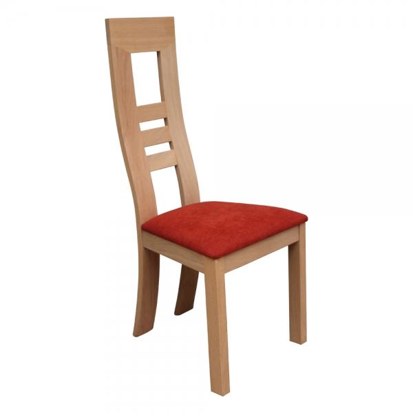 Chaise française en bois massif et assise tissu rouge orangé - Muscade 1060 - 1