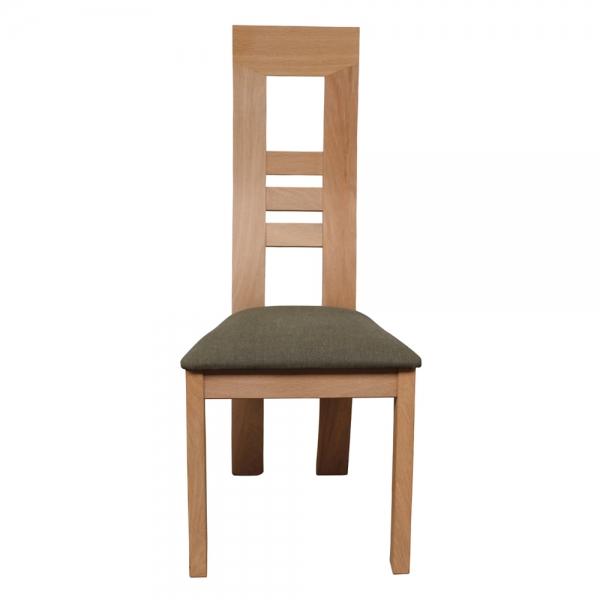 Chaise contemporaine française en bois massif et assise tissu gris - Muscade 1060 - 7